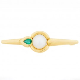 18K Yellow gold brooch with Pearl Emerald