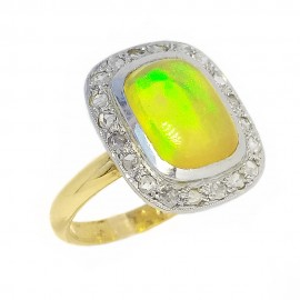 Vintage yellow gold ring Australian Opal diamonds