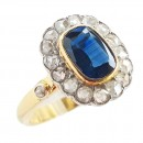 Vintage Yellow gold ring sapphire and diamonds