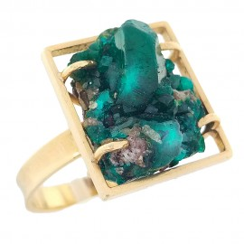 Yellow gold ring Dioptase crystal