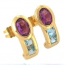 Yellow gold 750‰ earrings Amethyst Aquamarine