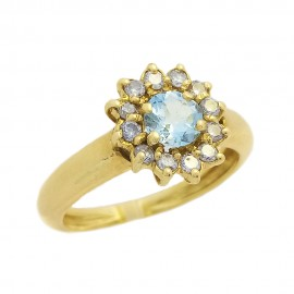 Marguerite ring yellow gold 750‰ Aquamarine & Diamonds