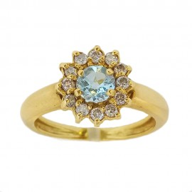 Marquise ring in white gold 750 Aquamarine & Diamond