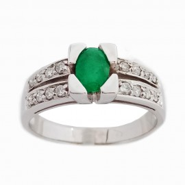 Yellow and white gold marquise ring with oval emerald 0.70 ct and diamonds