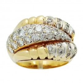 Bague jonc ancienne or 750‰ 4.00ct Diamants
