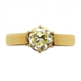 Yellow gold Solitaire Fancy Yellow diamondd 0.85 ct