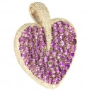 White gold heart pendant with amethyst & diamonds