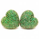 Vintage french heart earrings 3.50 cts Emeralds