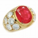 Yellow gold ring with 4.98 cts rubis and 3.00 cts diamonds