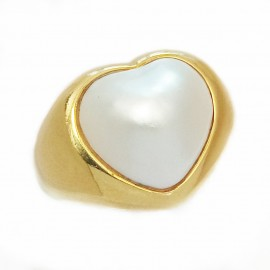 Tecla ring yellow gold 750 heart mabe pearl