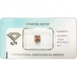 IGI - Diamond Brillant - 1,04 Ct - Fancy Deep Yellowish Brown - VS1