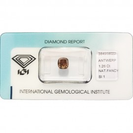 IGI - Diamond Brillant - 1,26 Ct - Fancy Deep Yellowish Brown - SI1