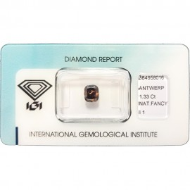 IGI - Diamond Brillant - 1,33 Ct - Fancy Deep Yellowish Brown - I1