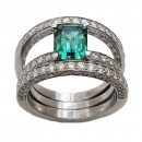 White gold ring 750 Rectangular Tourmaline Indigolite 1.5cts