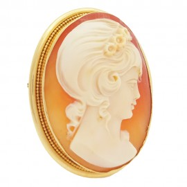 Pendant brooche yellow gold 750 lady cameo
