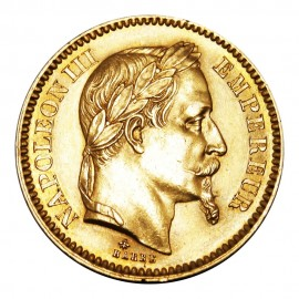 20 Francs gold Napoleon III Laureate Head (1861-1870)