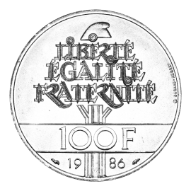 100 Francs Silver LIBERTY Statue Of Liberté 1986