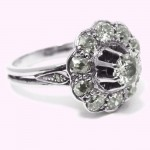 Bague or blanc 750 diamant taille ancienne 1.25 carat