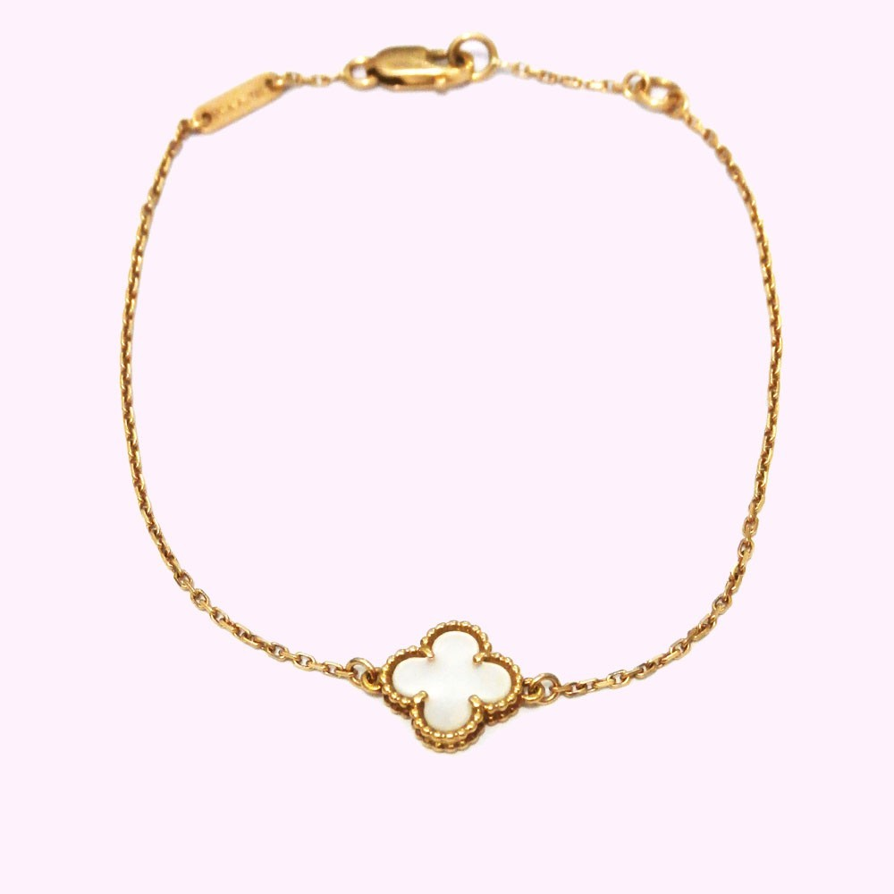 gold arpels alhambra cleef sweet diamond vintage and jewellery bracelet van details white product