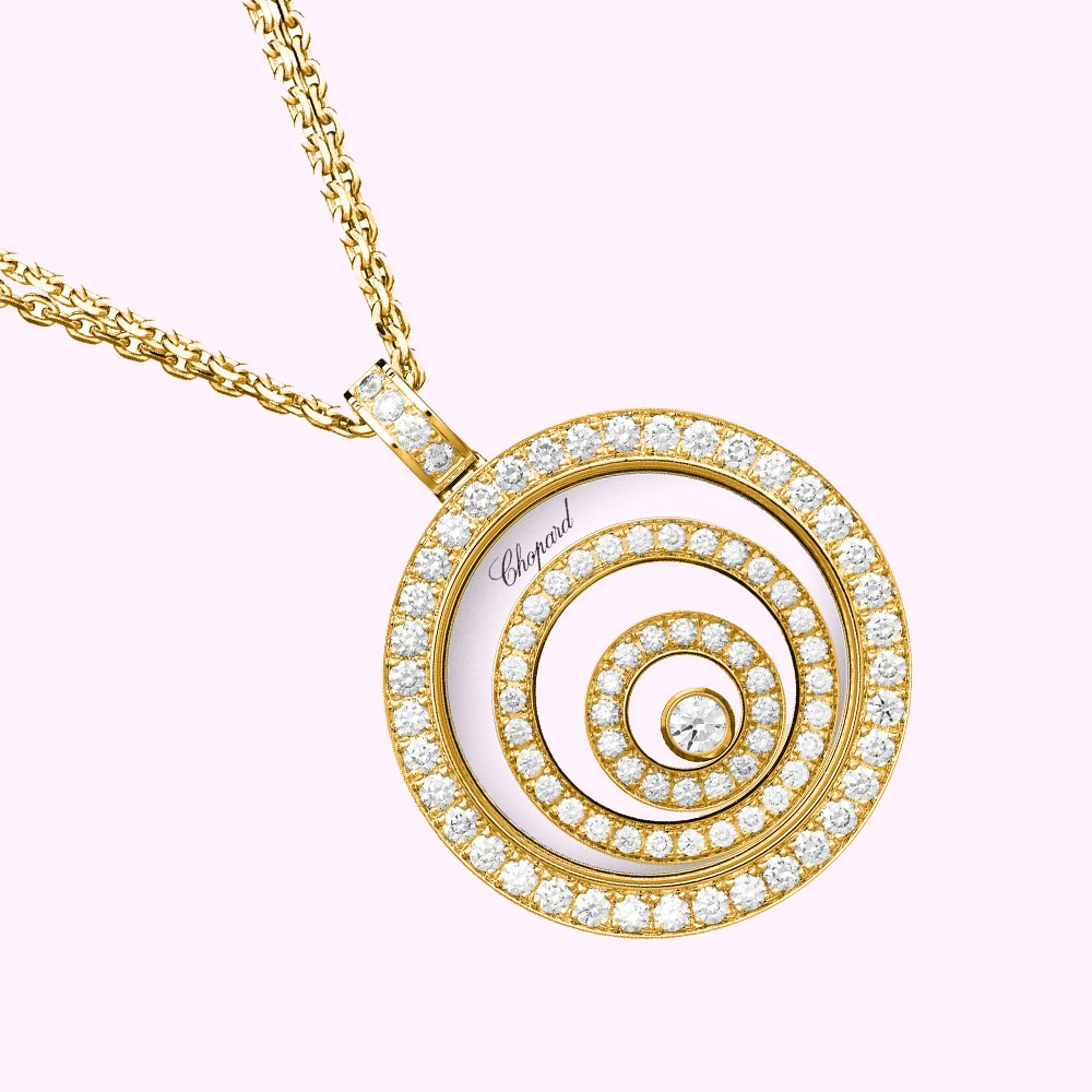 Chopard happy spirit necklace pendant yellow gold 750 diamonds mozeypictures